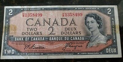 1954 $2 Canada Paper Note  DEVILS FACE HAIRDO  F - VF
