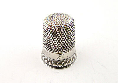 Antique Sterling Silver Ornate Thimble Size 8 Star Hallmark