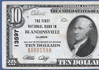 Il 1929 $10  ♚♚ Blandinsville, Illinois ♚♚ Only 3 Known  Very Rare!!!