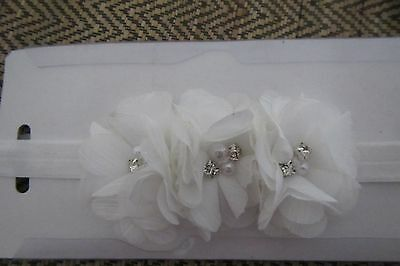 Baby Girl WHITE ORGANZA Headband with Pretty Flowers New in Pack