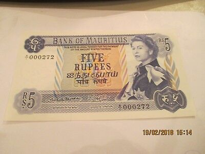 Mauritius Five Rupees Note,P-30a