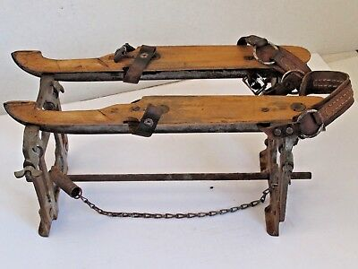 Antique Planert Ice Skate Sharpening Rack with a Pair of Skates c.1920's