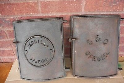 (2)Vintage Cast Iron Wood Stove/Furnace Doors - Decor - Steampunk - Great Decor