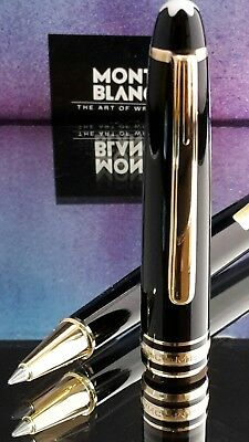Mont Blanc Pen Meisterstuck 163 Rollerball  Black Resin Gold Box Papers Mint X46