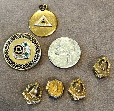 Vintage Bell Telephone Co Pendants Charms Service Pins 10K Gold