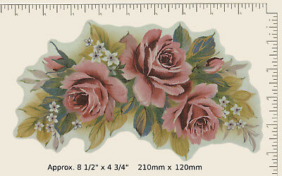 1 x Ceramic decal Decoupage Pink Floral Painted Roses COMBINE POSTAGE P12