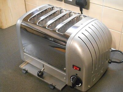 Superb Dualit 4 Slice Four Silver Polished Toaster 40349 4Slgb Extra Wide Slots