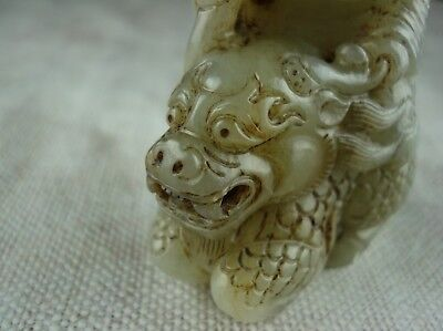 Antique Chinese Jade Carving Of A Boy On A Qilin Finely Carved Old Figurine