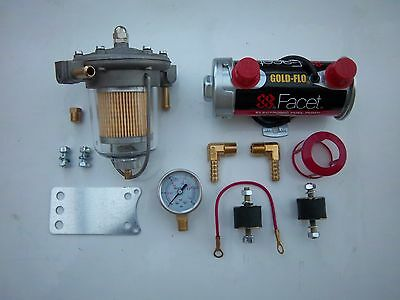 Facet Silver Top Fuel Pump Kit 480530-K  85Mm  Glass Bowl Filter King And Gauge