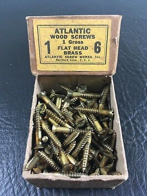 Vtg Atlantic #6 X 1 Inch Flat Head BRASS SLOTTED Wood Screws 126 box unused