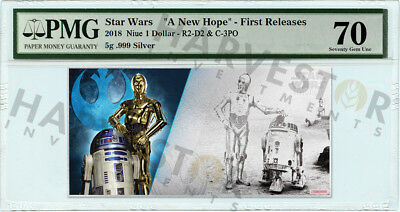 2018 Silver Star Wars R2-D2 & C-3Po - 5 Gram Coin Note - Pmg 70 First Releases