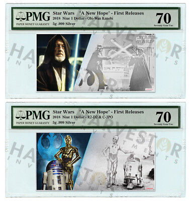 2018 Silver Star Wars Obi-Wan R2-D2 C-3Po - 5 Gram Notes - Pmg 70 First Releases