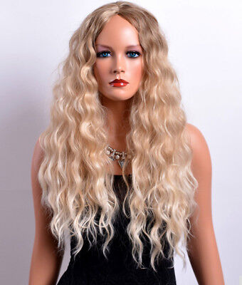 LONG BLONDE 28 Inches Full Wig for Women Light Blonde Synthetic Naturally Wavy