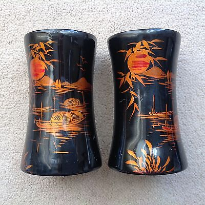 Pair Of VINTAGE 11cm HAND MADE/PAINTED Oriental PAPIER MACHE Cups/Vessels ASIAN