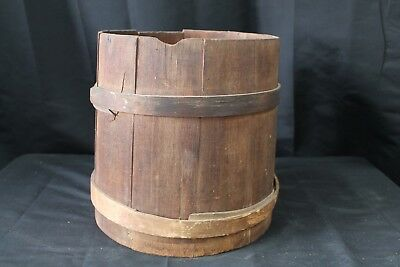 Antique Wood Pine Primitive Finger Lap Firkin~Sugar/Mincemeat Bucket