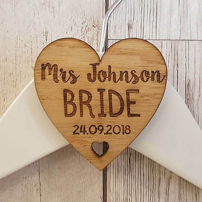 Personalised Wedding Bridal Party Wooden Heart Laser Engraved Coat Hanger Tag T3