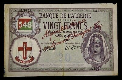 ALGERIA Algerie 1941 20 Francs with unknown overprint