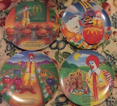 3 1989 McDonaldS Rhyme Collector Plates 1 from 1993 w/ Hamburgler Grimace RARE
