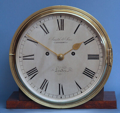Rare c.1875 English Ship Striking Bulkhead Clock with 'Dog Watch' Sequence.
