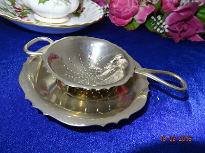 Vintage Silver Plated Epns  Tea Strainer & Drip Stand -