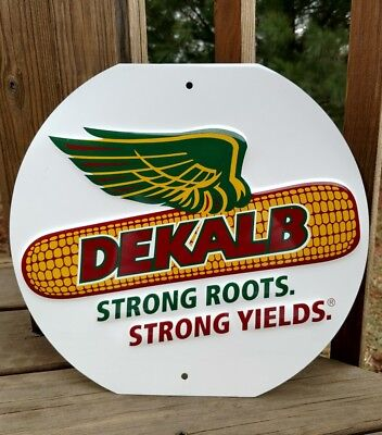 """DeKalb Seed Corn 13"""" Round Metal Sign - """"Strong Roots Strong Yields"""""""