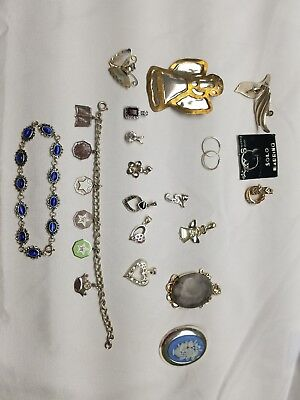 VTG Sterling Silver Lot of Bracelets, Earrings, Pendants. 100gm