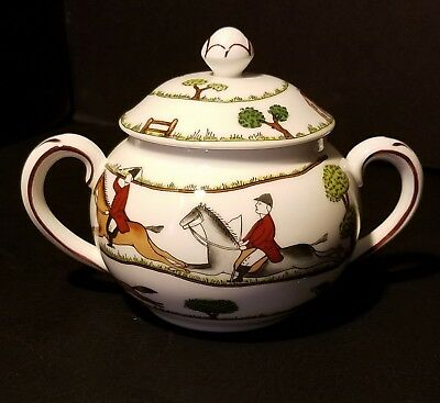 Crown Staffordshire ~ England ~ Hunting Scene Sugar Bowl with Lid ~ Horses/Dogs