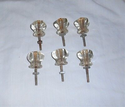 6 Vintage Antique Clear Glass Cabinet Door Drawer Pull Knob Pulls