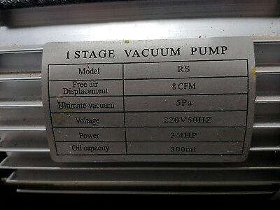 Vacuum Pump Air Conditioning Refrigeration casting jewellers 8CFM 3/4HP One Stag