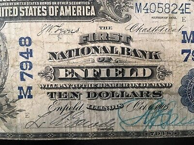 USA  10 Dollars 1905  Large National -- ENFIELD, IL - Illinois -- Charter #7948