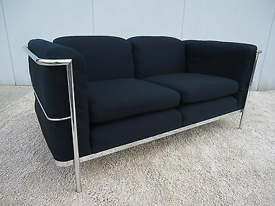 Le Corbusier 1928 LC2 Style Loveseat Settee in Black Fabric by Jack Cartwright