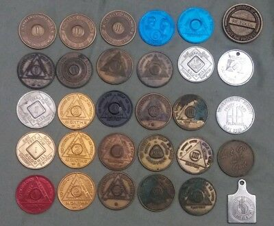 Lot of 30 Alcoholics Anonymous /NA Gamblers Recovery Sobriety Coin Token MEDALS