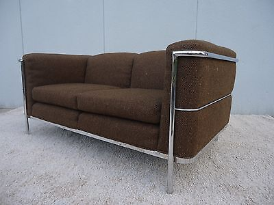 Le Corbusier 1928 LC2 Style Loveseat Settee in Brown Fabric by Jack Cartwright