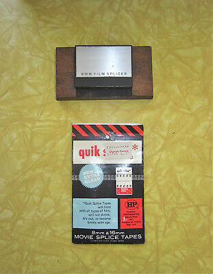 VINTAGE WOOD BASE 8mm FILM SPLICER + 3 DOZEN 8 /16mm MOVIE QUICK SPLICE TAPES