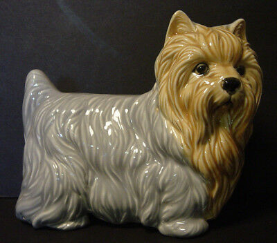 Vintage Yorkshire Terrier Ceramic Figurine Yorkie Champion Dog Signed Hand Paint