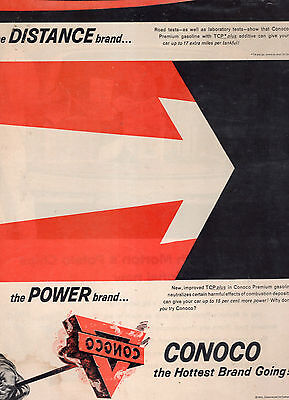 Conoco Premium Gas Full Page Magazine Ad--In Plastic Sleeve-Vintage