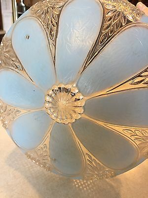 Antique, 3 Chain, Art Deco, Frosted Blue Glass Light Shade
