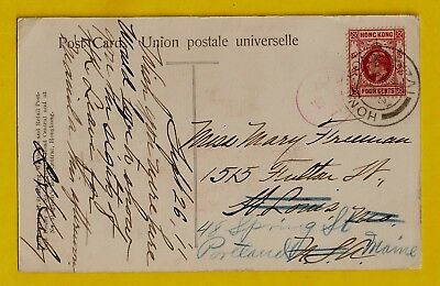 1911 Hong Kong Scott# 90 pc cover to USA & Forwarded; Queens Road Shops postcard