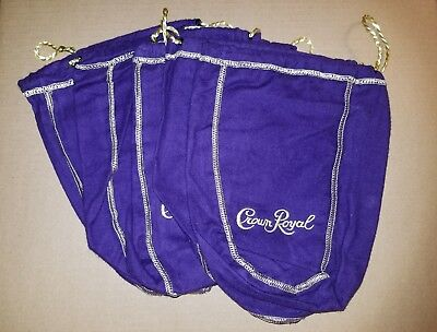 NEW 5 Crown Royal Purple Felt Bags Gold Trim & Drawstring 750ml Quilts Crafts
