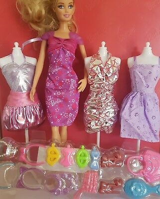 Barbie Clothes dress x4outfits  and accessories       lot 9