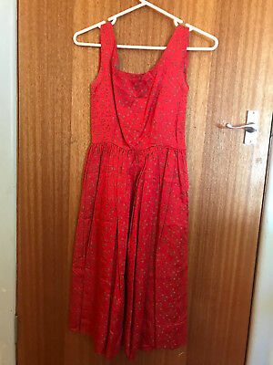 Vintage 50s/60s Dress - Rayon- Red and woven floral pattern Size 8-10