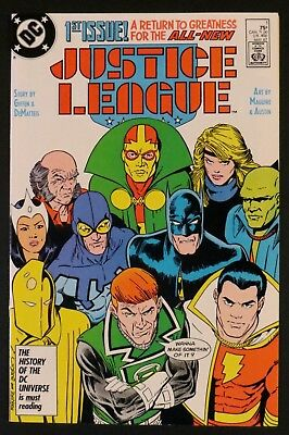 JUSTICE LEAGUE 1 2 3 4 5 6 7-75 NM Maguire Giffen International America DC 1987