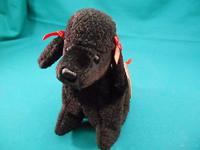 Ty ~   Beanie Baby ~ Gigi ~ Black Poodle with Red Bow ~ Retired ~ Mint with Tags