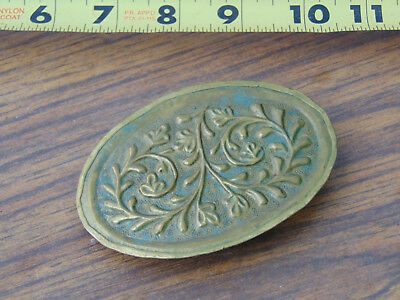 Antique Hair Clip Brass Ornament Oval Floral Nice Old Vintage