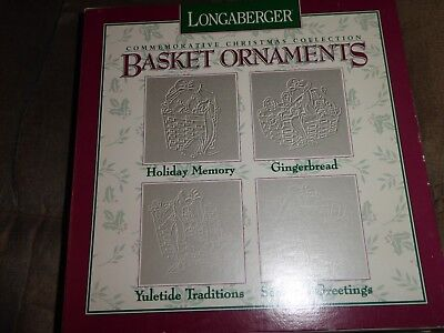 Longaberger 4 Pewter Ornaments 1996 Gingerbread Yuletide Traditions Holiday ++