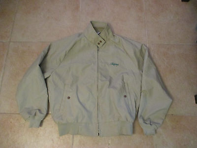 Vintage Cal Craft Tanqueray Sewn Logo Zip-Up Large Beige Jacket Made In The Usa