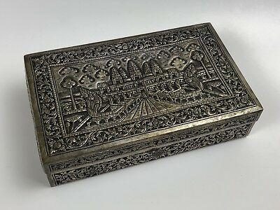 Cambodia Silverplate Repousee Jewelry Box Cambodian Snake