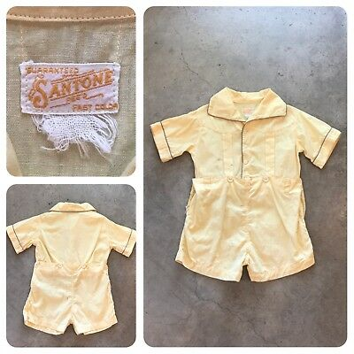 VTG 30s 40s Guaranteed Fast Color Western Romper Coveralls Work Buckaroo Youth