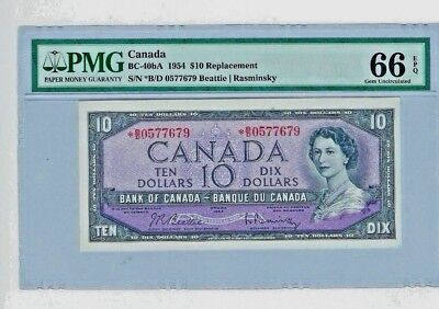 ***Replacement note*** 1954 Canada $10 Ten Dollars, PMG 66 EPQ Gem UNC BC-40bA