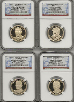 2015 S Presidential Dollars 4 coin set NGC PF70